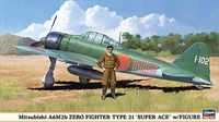 Mitsubishi A6M2b Zero Fighter Type 21 Super-ace with Figure