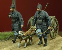 WWI Belgian Dog-drawn Cart with Crew 1914-15
